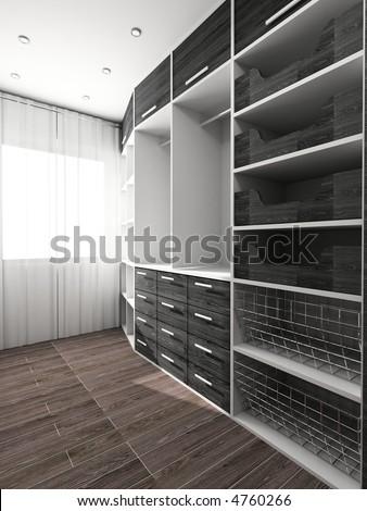 Big comfortable closet. Modern design. Home interior. - stock photo