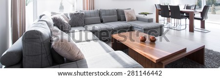Big comfortable couch and stylish wooden coffee table - stock photo