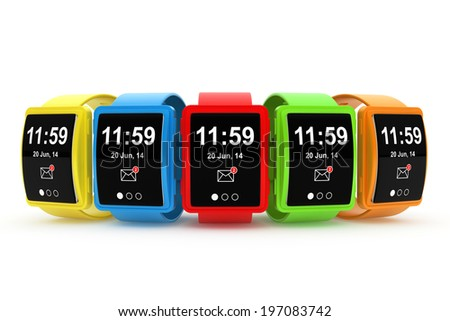 Big conceptual multicolour smart watches on a white background - stock photo