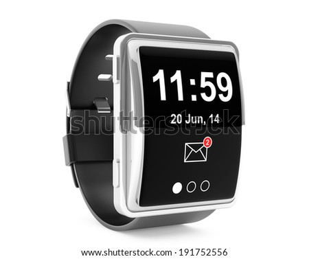 Big conceptual smart watch on a white background - stock photo