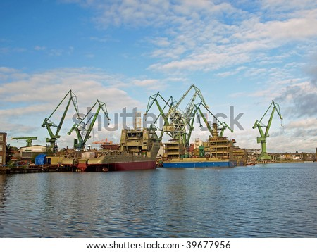 Big cranes in shipyard Gdansk, Poland. - stock photo