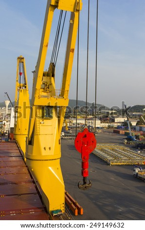 Big cranes with industry ship at port - stock photo