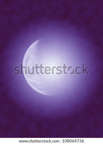 big crescent moon in blue star background - stock photo