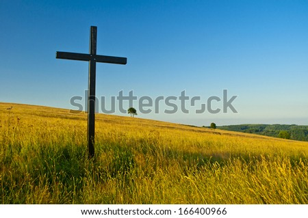 big cross on summery meadow - stock photo