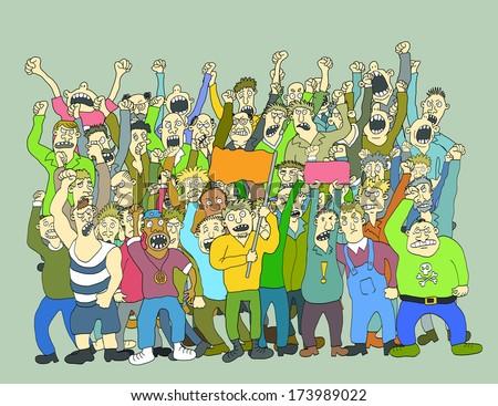 Big Crowd Of Striking People - stock photo