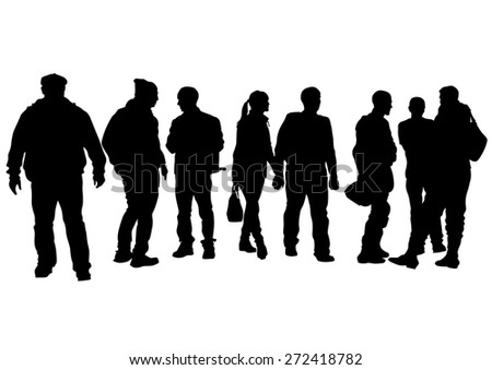 Big crowds people at street on white background - stock photo