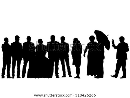 Big crowds people of wedding on white background - stock photo