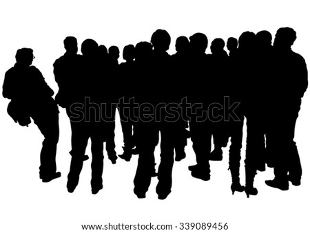 Big crowds people on white background - stock photo