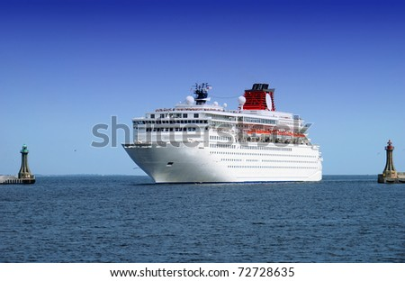 big cruise liner coming into the port area - stock photo