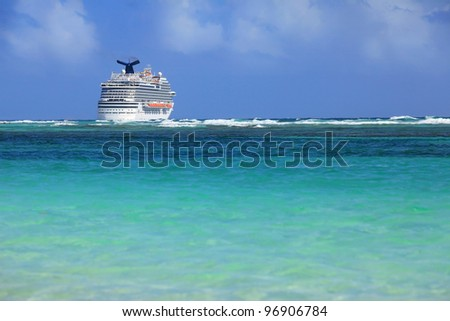 big cruise ship and clear blue water - stock photo