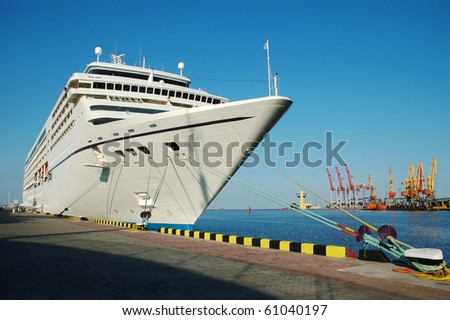 Big cruise ship docked in a sea port
