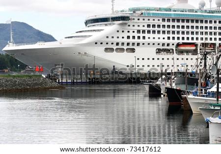 Big cruise ship docked in Ketchikan, Alaska - stock photo