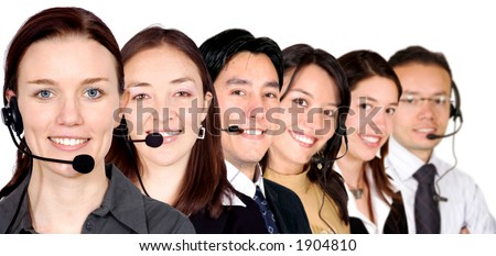 big customer service team over white - stock photo