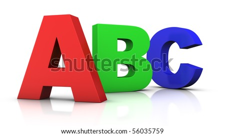 big 3d letters ABC in red, green and blue - 3d rendering/illustration