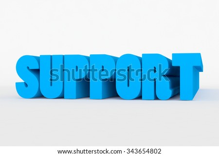 Big 3D text on white background with soft shadow. Support in blue color on white