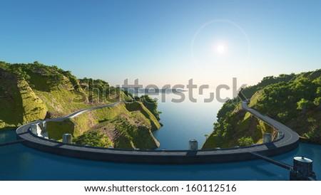 Big dam near the river. - stock photo