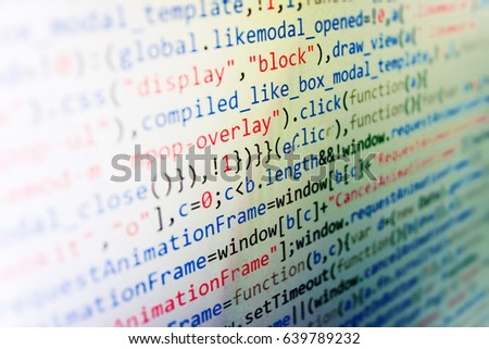 Big data and Internet of things trend. Database bits access stream visualisation. Monitor closeup of function source code. Developer working on websites codes in office. Modern tech.