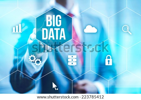 Big data concept man selecting and pressing Big Data symbol - stock photo