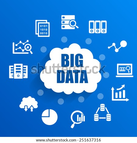 Big Data concept with icons - stock photo