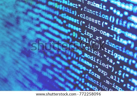 Big data database app. Internet security hacker prevention. Big data and Internet of things trend.  IT specialist workplace. Website programming code.  IT coding on monitor screen.