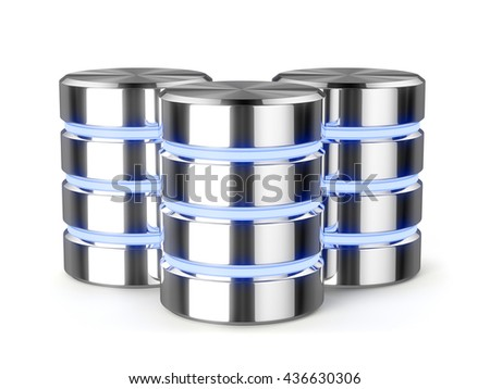 Big data, hard disk drive, metal data storage, light stripes database icon symbols isolated with shadow. 3d rendering - stock photo