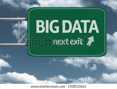 Big Data, next exit creative road sign and clouds - stock photo