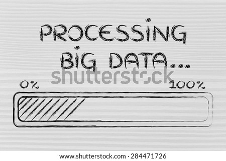 big data processing and storage: progress bar loading content - stock photo