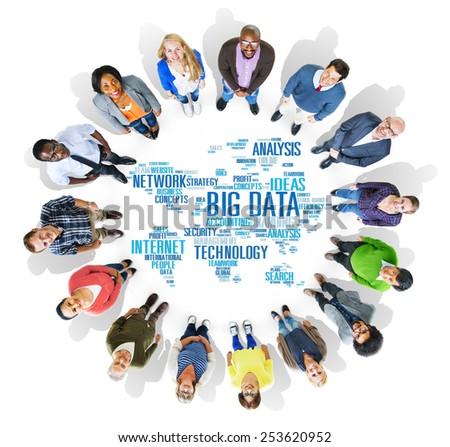 Big Data Storage Information World Map Concept - stock photo