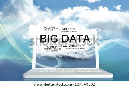 Big Data with Volume, Velocity, Variety and Veracity  - stock photo