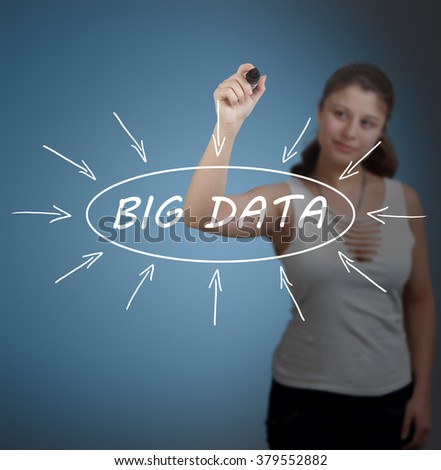 Big Data - young businesswoman drawing information concept on transparent whiteboard in front of her. - stock photo