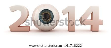 Big digits 2014 with human eye - stock photo