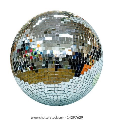 Big disco ball symbol of seventies isolated - stock photo