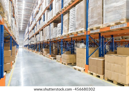 Big distribution warehouse. Interior.