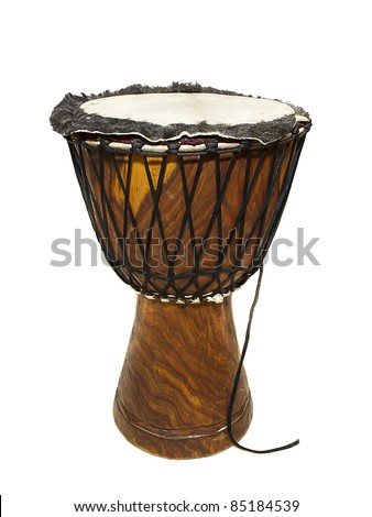Big djembe drum on the white background. - stock photo