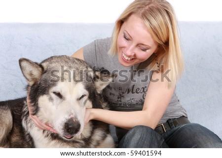 Big dog and the woman - stock photo