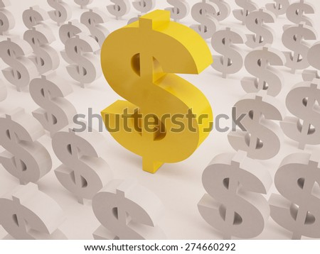 big dollar sign stand out from own kind - stock photo