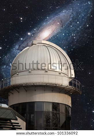Big dome of astronomical scientific observatory - stock photo
