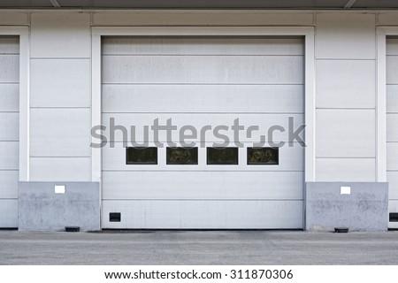 Big Door at Warehouse Docking Bay - stock photo