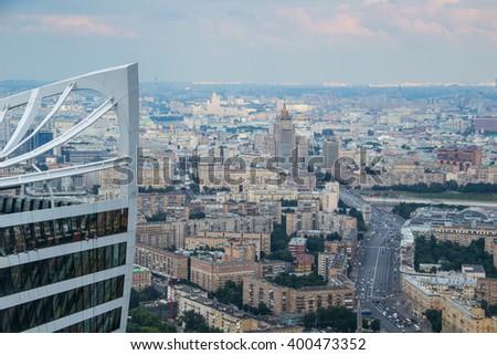 Big Dorogomilovskaya Street, Borodinsky Bridge in Moscow, Russia, part of modern tower - stock photo