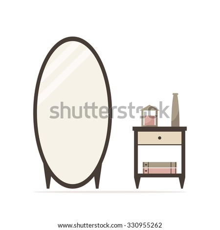 Big dressing mirror with nightstand isolated icon. Bedside table with candle, vase and books. Classic bedroom furniture. Bedroom interior design. Flat style illustration.  - stock photo