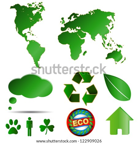 Big eco logos set executed in green style - stock photo