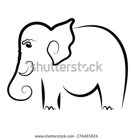 Big Elephant Symbol Isolated on White Background.