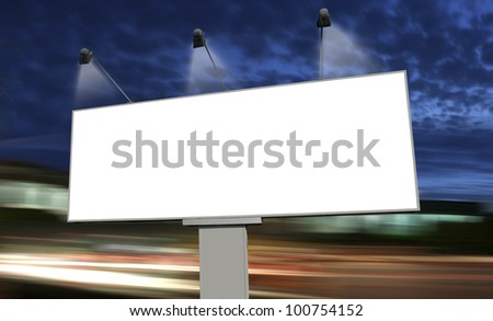 big empty billboard at night in city - stock photo
