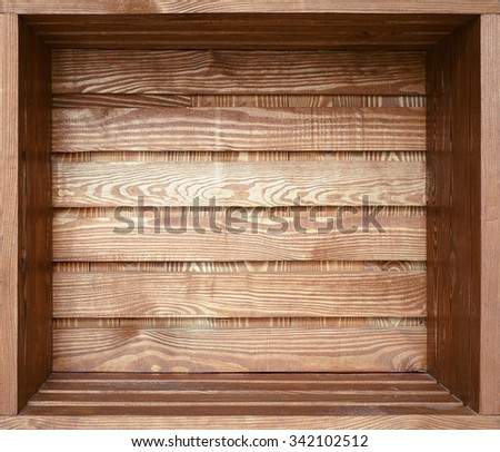 Big empty brown grunge old wooden shelf or box for packaging - stock photo