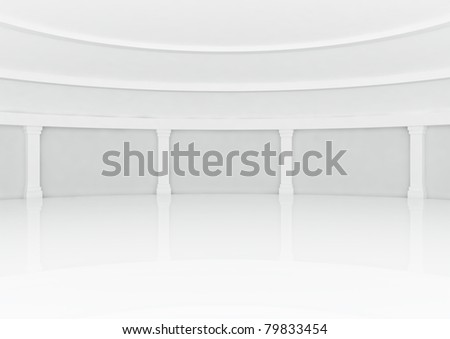 big empty round hall with columns - 3d illustration