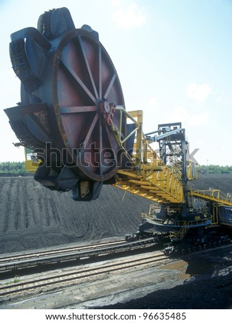 Big excavator used for mining. - stock photo