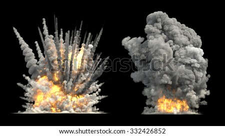Big explosion on ground - stock photo