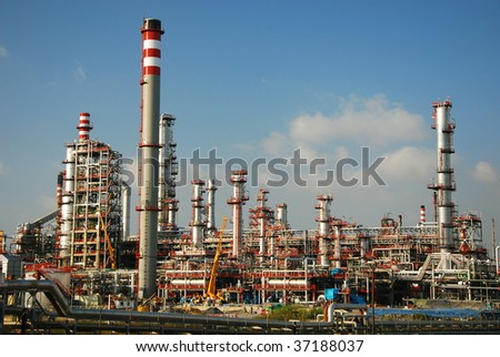 Big factory, chemical and petrochemical industry. - stock photo
