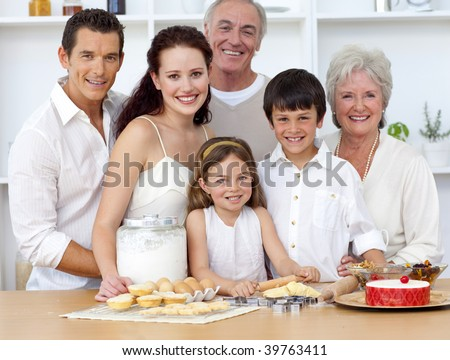 Big family baking in the kitchen - stock photo