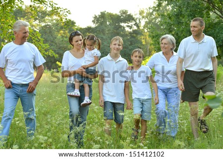 Big family is having fun in a summer park - stock photo